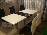 rectangular white wooden table with four chairs dining set Hamilton, L8W 3H9