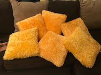 6 yellow furry cushion covers with cushions