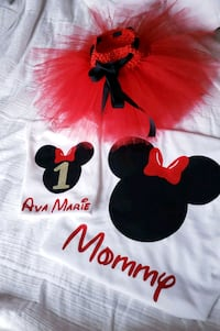 Minnie mouse shirt and onsie +tutu Rutherford