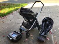 baby's black and gray travel system