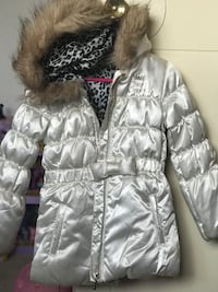 Pearl White Juicy Couture zip-up winter jacket