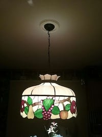 brown and green stained glass pendant lamp Dover, 19901