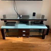 Wood/Glass TV Console