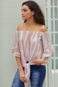 Off The Shoulder Vertical Stripes Blouse in Pink Calgary, T3K 0T1