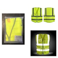 9Pockets 2 HighVisibility ZipperSafetyVest With Strips,ANSI/ISEA LARGE