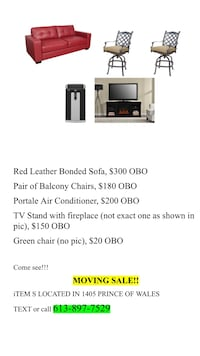 Portable air conditioner, patio chairs, red leather couch Ottawa, K2C