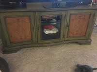 brown wooden TV stand with cabinet 39 mi