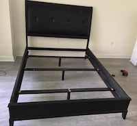 Dark brown Queen bed frame with leather headboard. Miami Beach, 33139
