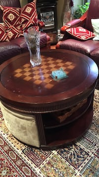 Solid table with two stools with storage and chess games Brampton, L6S