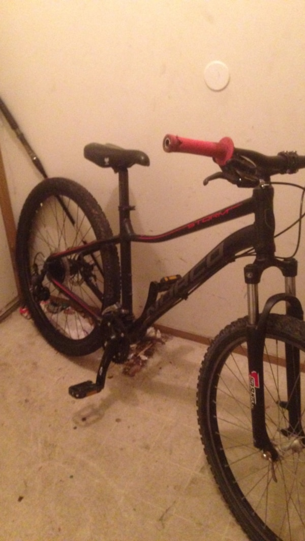 black and red Norco hardtail bike