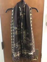 Brown and Gold Floral Scarf