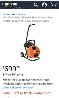 orange and black General Wire Spring mini rooter pro with flexi cable
