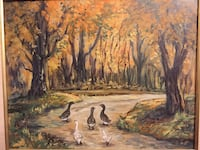 ORIGINAL ART, SIGNED BY ARTIST GABRIELE VOORHIS PELCH (1984), OIL ON CANVAS (?) Nature ducks trees , framed painting (w/ frame approx 26 in. X 21.5 in.) Glendale, 91203