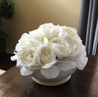 White Roses in a Ceramic and Wooden Bowl