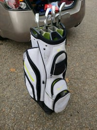 Golf iron set 4-PW with cart bag and new balls