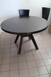Glass top solid wood table with chairs.  Ancaster, L9G 4R2