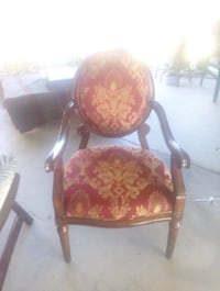 brown wooden framed red padded armchair 2331 mi