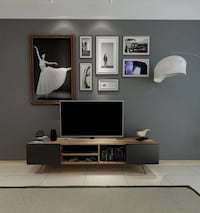 White and black wooden tv stand