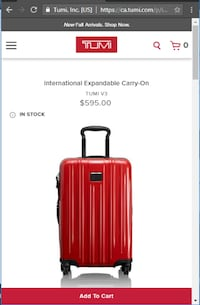 New Tumi V3 International Expandable CarryOn Suitcase Luggage Toronto