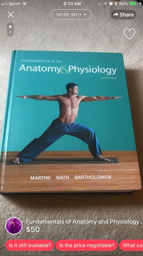 Used Anatomy and Physiology textbook for sale in Lilburn - letgo