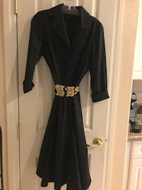 silk ... Front-button down long sleeves latest in fashion from top designers. ... -Front Silk Shirtdress .with layered pleaded accent , color Black ,size Medium, worn twice only , must pick up you can change the belts have deferent colors or match your