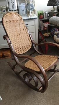 brown wooden framed brown padded armchairBentwood rocker in great shape Tobyhanna, 18466