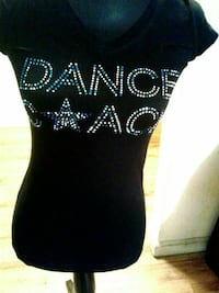 black and white dance star printed cap-sleeved shirt