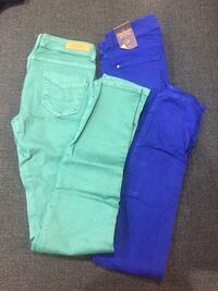 two green and purple denim jeans Toronto, M6P 1H3