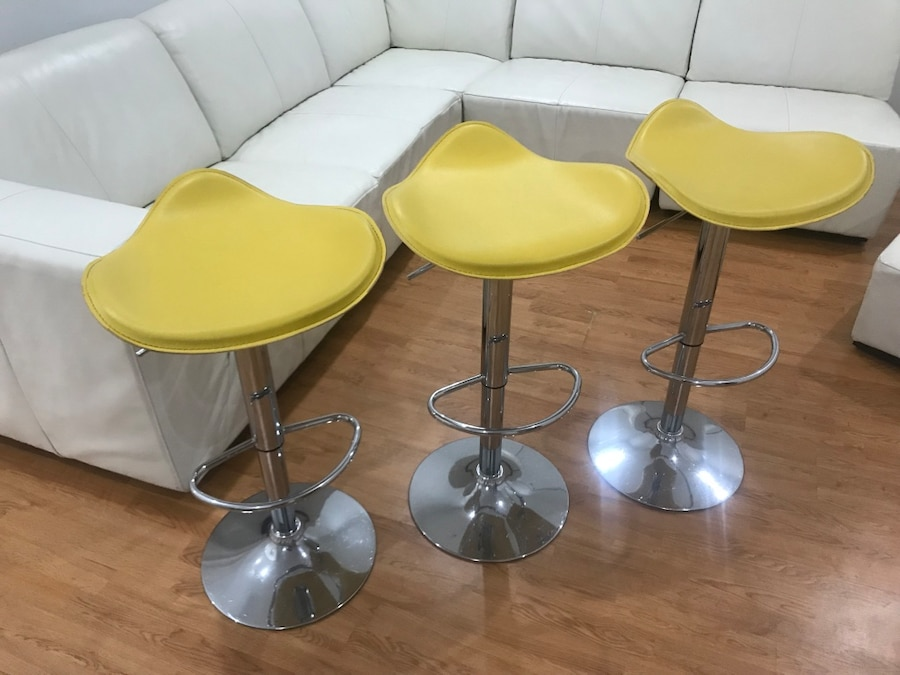 Three Yellow Leather Adjustable Bar Stool