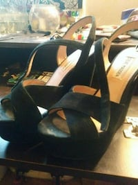 pair of black open-toe ankle strap wedges Whittier, 90604