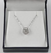 .925 Silver Necklace Pave Set Lock Oakville
