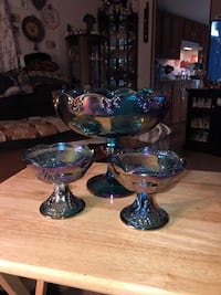 Blue carnival glass pedestal fruit dish and 2 taper candle holders 258 mi
