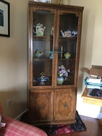 Brown Curio display cabinet with storage