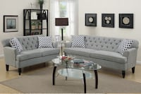 Only $50 Down!  New Tufted Couch Sofa Set. Grey. Delivery and Assembly included !