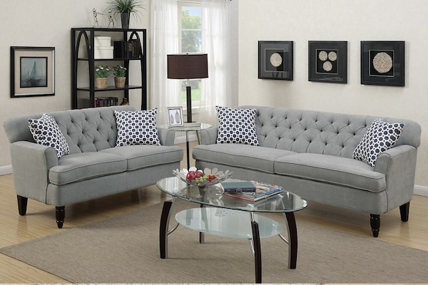New Tufted Couch Sofa Set. Grey. Delivery and Assembly included ! bfe8d4ab-be54-488d-88f1-482a8c171b16