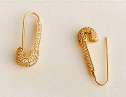 10k Gold Diamond Safety Pin Earrings