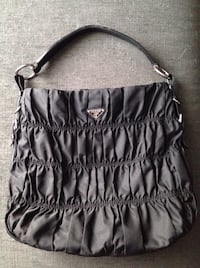 Authentic Prada Nylon Leather Ruffled Shoulder Bag Handbag Purse Hobo.