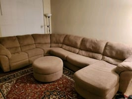 Sectional sofa / couch with ottoman like new with recliner