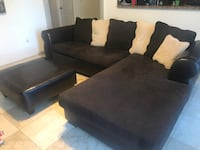 Leather and cloth sectional with ottoman  Cutler Bay, 33190