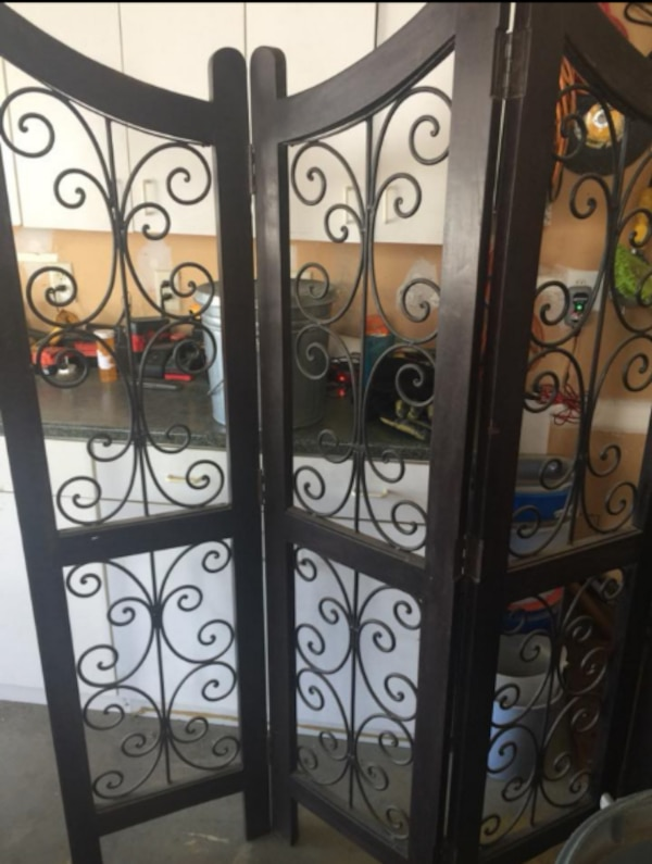 Very Heavy Dark Wood and Black Wrought Iron Four-Panel Room Divider! Gorgeous! 346fe0b2-fd28-4967-8bc9-92091a7a62da