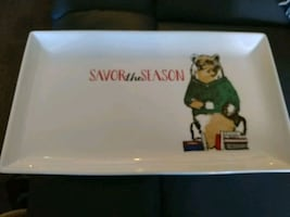 Savor the season christmas bear serving plate