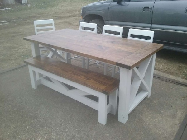 Used farmhouse table, bench and chairs set for sale in ...