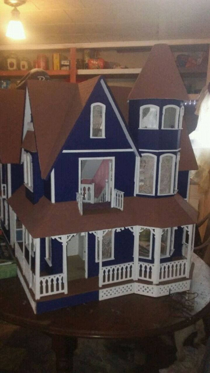 brown and blue wooden house miniature, used for sale  Eldorado