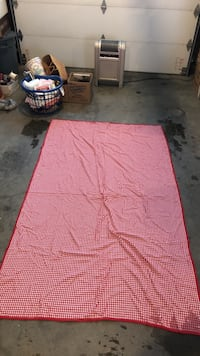 "RED WHITE CHECKERED CLOTH TABLE CLOTH  90"" x 55"""