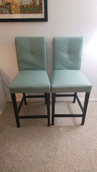 Pier One Faux Leather Sea Foam Counter Stool pair