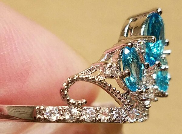 New! SALE $5 Off Aquamarine Topaz Crown Ring With  1b5b6c40-f974-486f-b64f-24b608518633