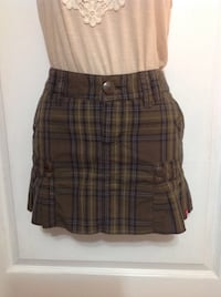 ESPIRIT Brown Plaid Skirt: Size Medium