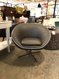 Divani Casa Willow Swivel Lounge Chair, Gray Leather Los Angeles