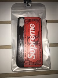 red and white Supreme leather wallet 37 km