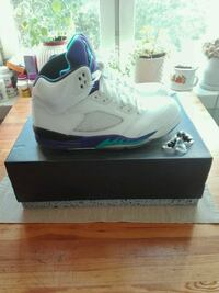 Nike Air Jordan 5  white/ new emerald grape ice black/ size 43 uk 8.5 Grünerløkka, 0175